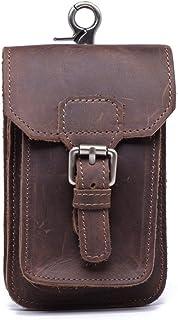 QEES Men's Leather Phone Pouch Retro Belt Clip Pouch Waist Bag Cash Holder GJB33