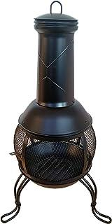 TAINO Terrassenofen mit Funkenschutz Gartenkamin Feuerstelle Terrasse Gartenfeuer Gartenofen aus Stahl Schwarz