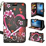 Coolpad Rogue (T-Mobile), Customerfirst Wallet Case, Wrist Strap Flip Folio [Kickstand Feature] Pu Leather Wallet Case With Card Slot For Coolpad Rogue With Key Chain (Butterfly Pink Flowers)