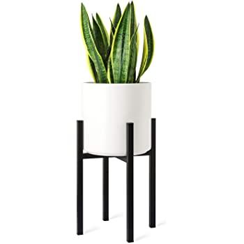 Mkono Plant Stand Mid Century Modern Tall Metal Pot Stand Indoor (Plant Pot Not Included) Flower Potted Plant Holder Plants Display Rack, Fits Up to 10 Inch Planter