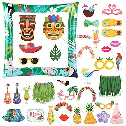 BETESSIN 36 Stücke Hawaii Fotorequisiten Aloha Photo Booth Props mit Aufblasbar Fotorahmen DIY Fotoautomat für Tropical Luau Sommer Partydeko