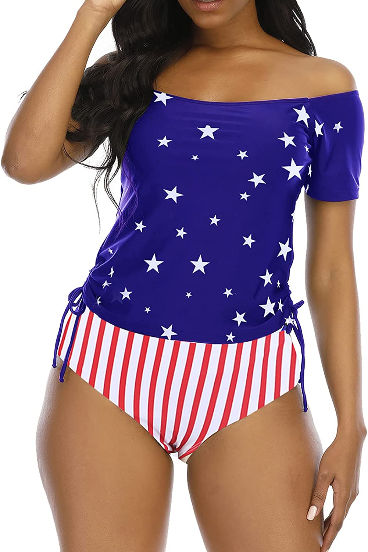 papasgix Tankini Swimsuits for Women Off Shoulder Swimwear Stripe Tankini Set Monokini Two Piece Bathing Suit