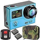 GreatCool Action Cam 4K Wifi Dual-Bildschirm Wireless-Fernbedienung Camera Kamera Wasserdicht mit 2...