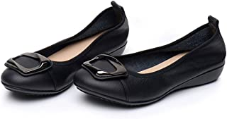 SAILING LU Women's Comfort Low-Heeled Shoes Genuine Leather Wedges Buckle Dress Pumps