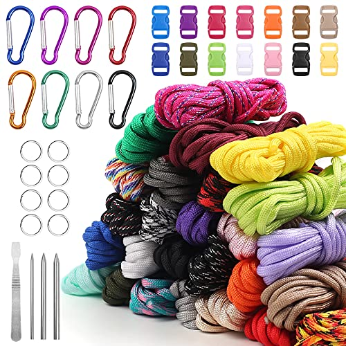 Paracord Set 26 Farben Multifunktion Enthält Seilschnalle und Nähnadeln zur Herstellung von Armband, Lanyard, Schlüsselbund, Hundehalsband