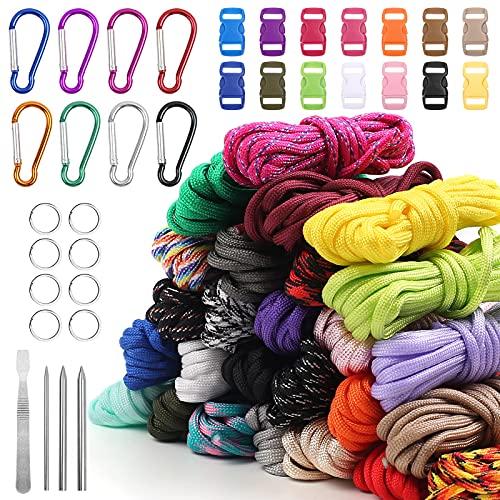 Set de paracord 26 colores, multifunción, incluye hebilla de cuerda y agujas de...