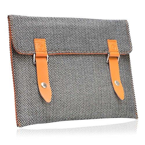 """#DoYourMobile© Tasche/Schutzhülle für Tablets BZW. Notebooks - Tweedstoff in der Größe L 33 x B 21,3cm / 11,6-12"""" mit edlem Emblem & Druckknopfverschluss/Stoffmuster : 2 (schwarz/weiß)"""