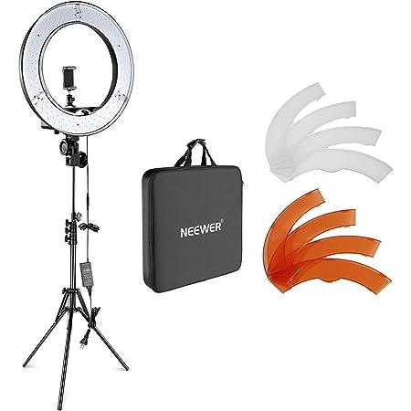Neewer 18インチLEDリングライト 55W 5500K 調光可能 省エネSMD LED カメラ写真ビデオ用照明セット ライトスタンド、ソフトチューブ付属 生放送/メイクアップ/自撮り/YouTube/tiktok動画撮影用