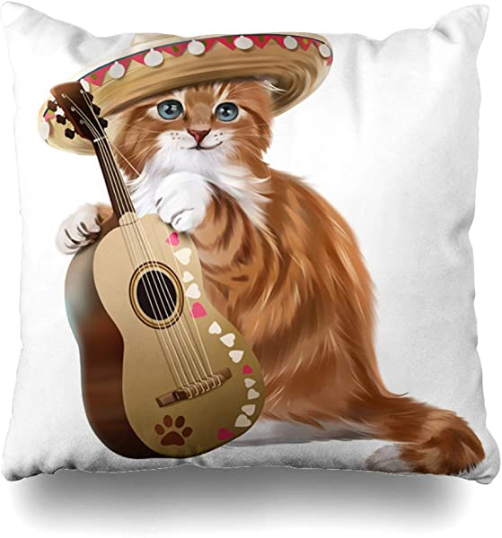 GisRuRu Throw Pillow Cover Fun Brown Cat Ginger Kitten Playing Guitar Watercolor Mexico Painting Wildlife Funny America Amigo Home Decor Pillowcase Square Size 18 X 18 Inches Zippered Cushion Case