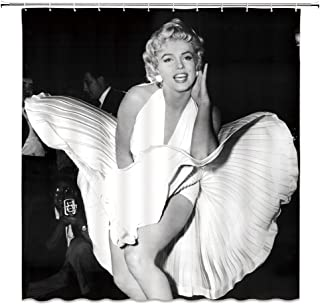 AMNYSF Marilyn Monroe Decor Black Shower Curtain Sexy Woman White Skirt Classic Pose Famous Star Portrait,70x70 Inch Waterproof Polyester Fabric Bathroom Accessories Curtains with 12pcs Hooks