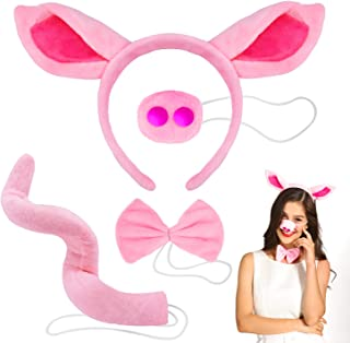 Jionchery Pig Costume Set Included Pig Ears Headband, Faux Pig Nose, Bow Tie and Pig Long Curled up Tail for Halloween Cosplay Costume or Party Decoration - Pink