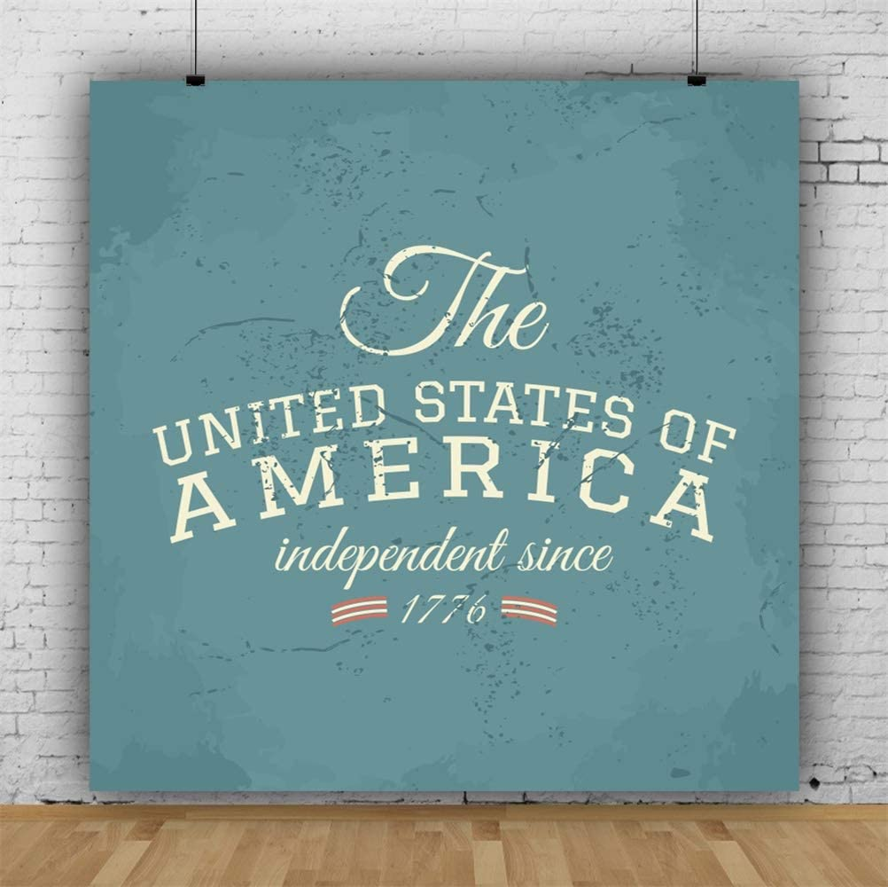 Leowefowa 10x10ft Retro Teal Independence Day Backdrop Vinyl 4th of July Photography Background Themed Party Banner Eagle Scout Camp Photo Booth Patriotic Wallpaper