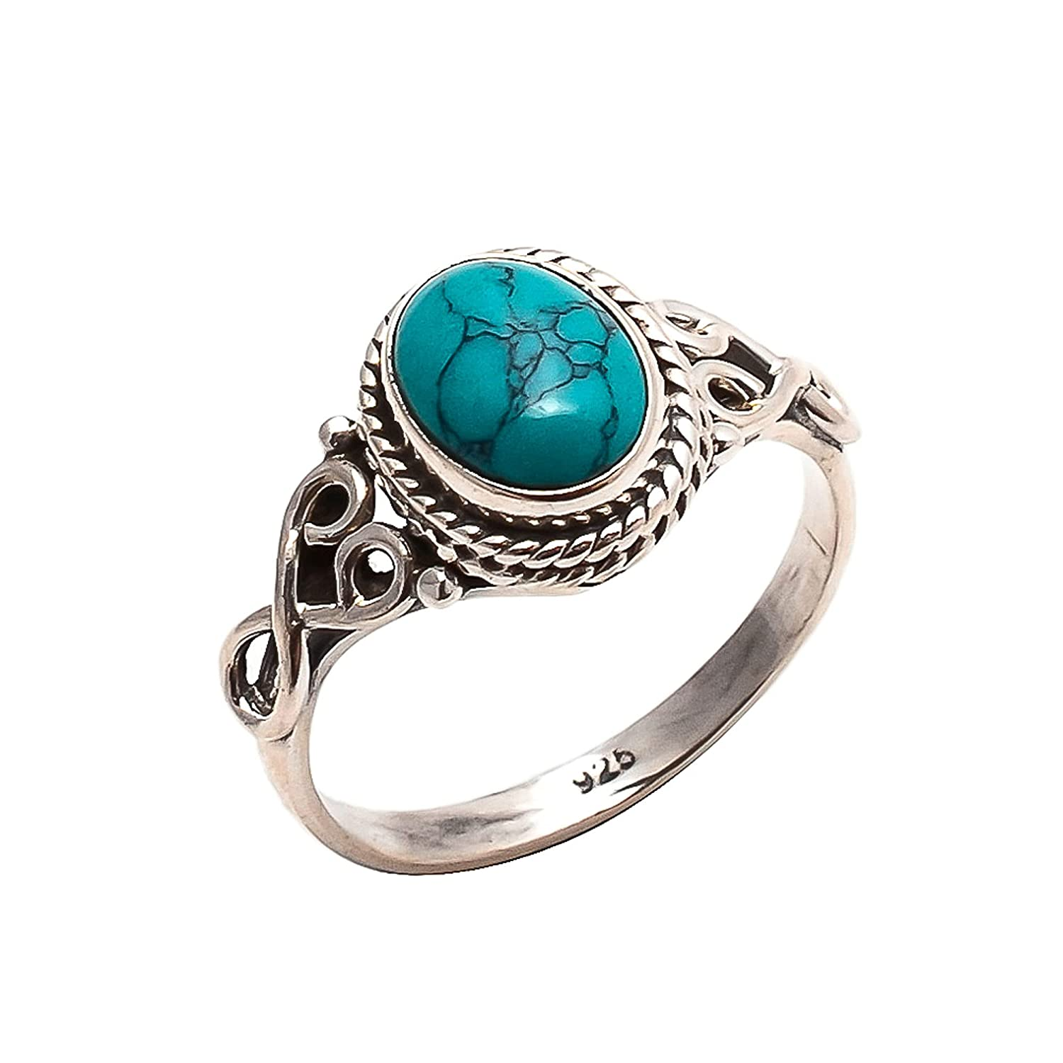 Turquoise Ring 925 Lowest price challenge Sterling Silver Statement Women For Max 86% OFF Si -