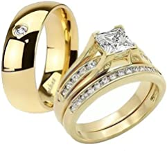 Marimor Jewelry His & Her 14K G.P. Stainless Steel 3pc Wedding Engagement Ring & Men's Band Set