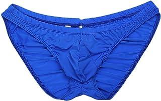 Freebily Men's Silky Bikini Briefs Bulge Pouch Underwear Ruched Back Swimwear