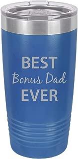 Best Bonus Dad Ever Stainless Steel Engraved Insulated Tumbler 20 Oz Travel Coffee Mug, Blue