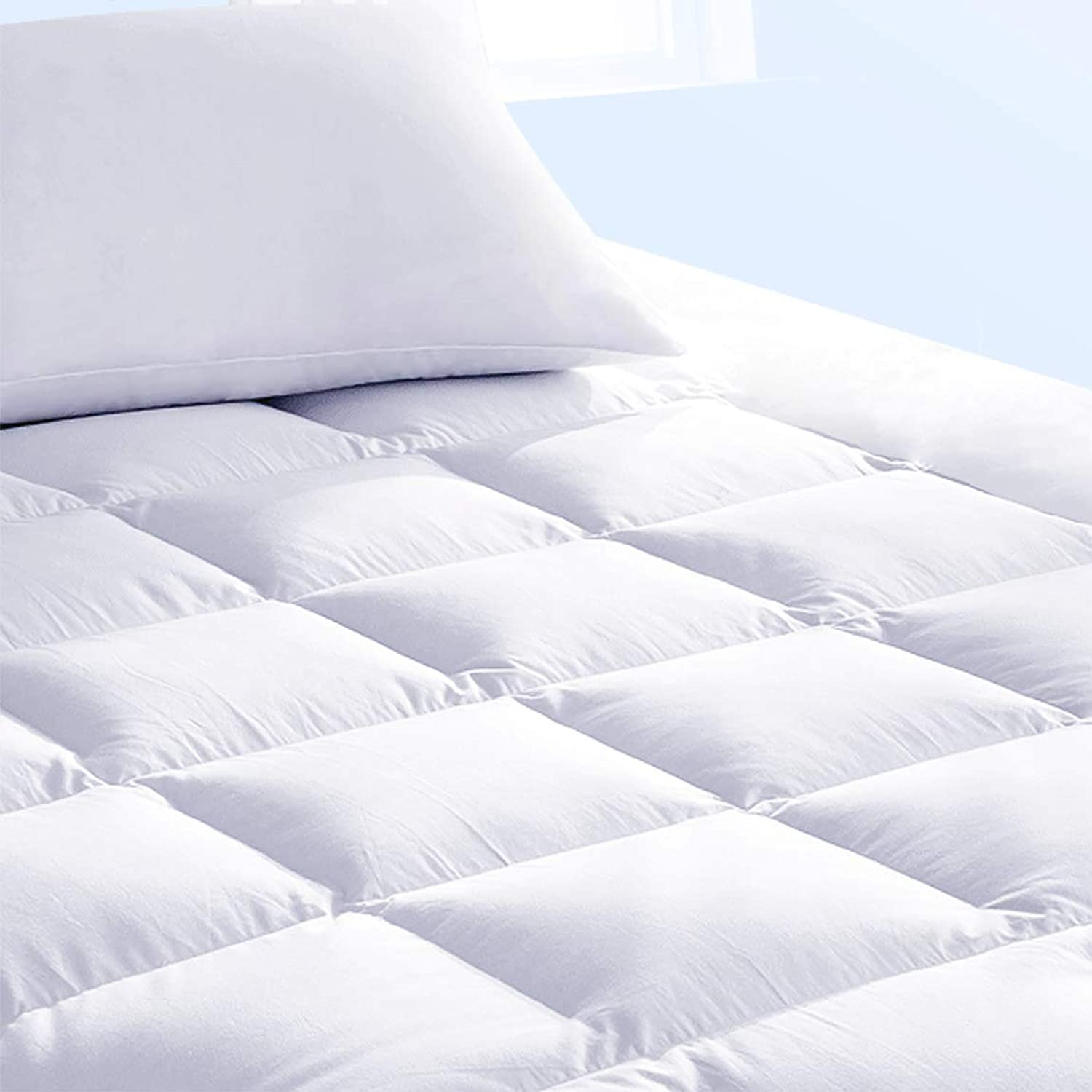 Pure Brands Mattress Topper & Mattress Pad Predector in One - Quality Plush Luxury Down Alternative Pillow Top - Make Your Bed Luxurious - 18  Deep Pocket - King Size