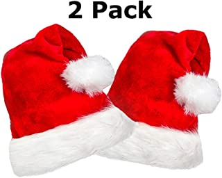 2 Pack Plush Santa Hat, Traditional Red and White Plush Christmas Santa Hat for Christmas Party, Adult size