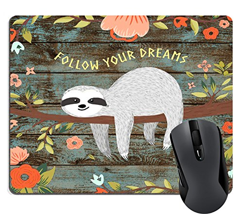 Wknoon Rectangle Gaming Mouse Pad Custom Design, Follow Your Dreams Quotes Cute Baby Sloth On The Tree Rustic Floral Wood Mouse Pads Mat