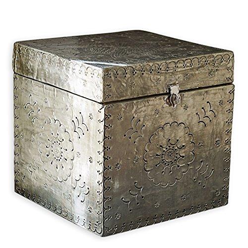 Loberon Box Célya, Mangoholz, Zinn, H/B/T ca. 20/20 / 20 cm, Silber