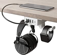 HumanCentric Headphone Stand with USB Charger (White) | Under Desk Headset Hanger and Mount with USB-C, USB-A and QC 3.0 | Gaming, Computer, and PC Accessory