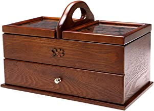 Makeup Organiser Cosmetic Jewellery Storage Boxes Portable Sewing Kit Case Wood Carving Process with 1 Drawer