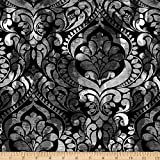 Fiorenza Digitaler Damast-Stoff, 274,3 cm, Schwarz
