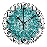 ALAZA Vintage Ethnic Flower Mandala Round Acrylic Wall Clock, Silent Non Ticking Oil Painting Home Office School Decorative Clock Art