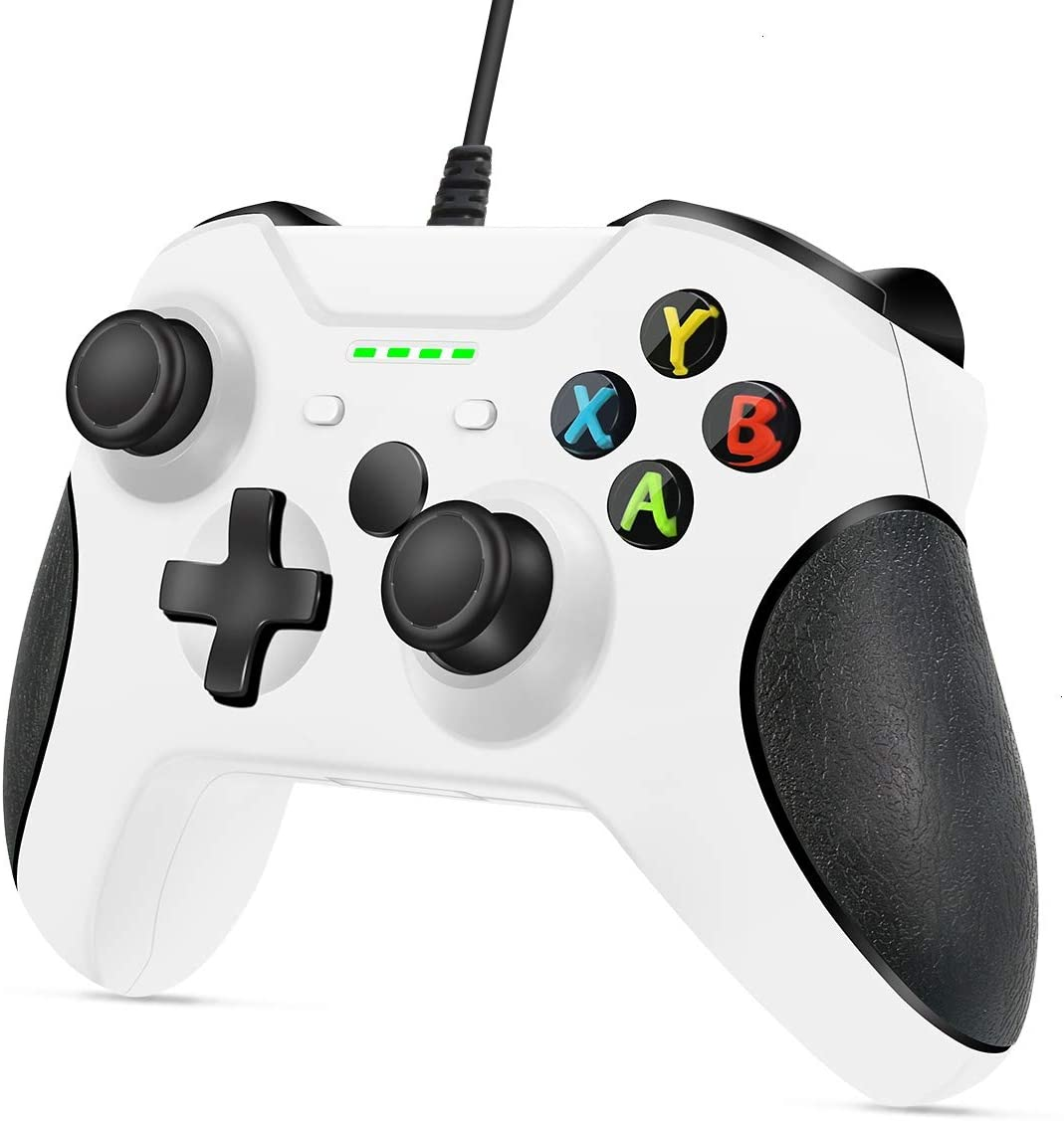 VOYEE Controller Replacement for Xbox One Controller, Enhanced Wired Controller with Headphone Jack/Double Shock/Upgraded Joystick Compatible with Microsoft Xbox One/X/S/PC Windwos 10/8/7 (White)