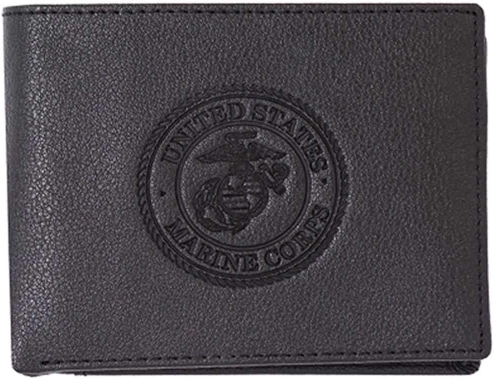 USMC Marine Corps Black Leather Bi-fold Embossed Wallet