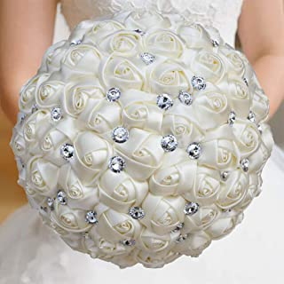 WIFELAI-A Cream Color Wedding Flowers Bridal Bouquets Crystal Bride Holding Bouquet Ivory Satin Roses with Diamond Pearl Ribbon (Dia:8.26inchH:10inch Plain Ivory W323-17)