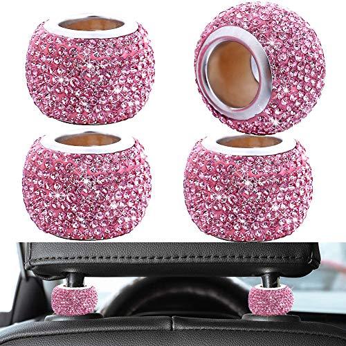 FEENM Updated Car Headrest Head Rest Collars 4PCS Rings Decor Bling Bling Crystal Diamond Ice for...