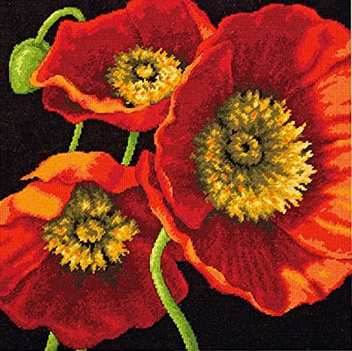 DIMENSIONS Needlepoint Kit, Red Poppy Trio, 14