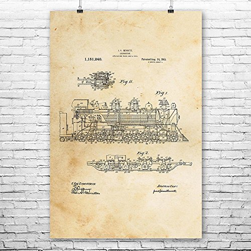 Steam Locomotive Poster Print, Railroad Engineer, Conductor Gift, Train Blueprint, Train Station Art, Steampunk Decor