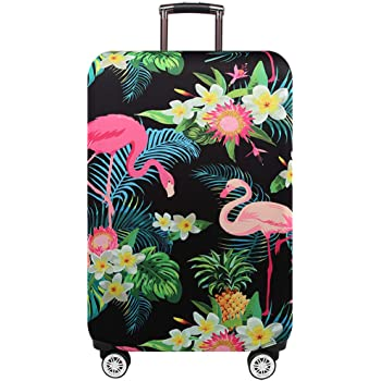 Flamingo Love Travel Luggage Cover Stretchable Polyester Suitcase Protector Fits 18-20 Inches Luggage