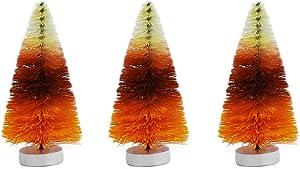 TG,LLC Treasure Gurus 3pc Mini Candy Corn Bottle Brush Sisal Tree Set Miniature Thanksgiving Fall Table Home Decor