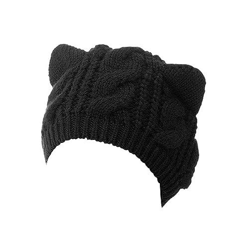 2dfb6423c9e Choies Women s Acrylic Cat Ears Knit Black Beanie Hat