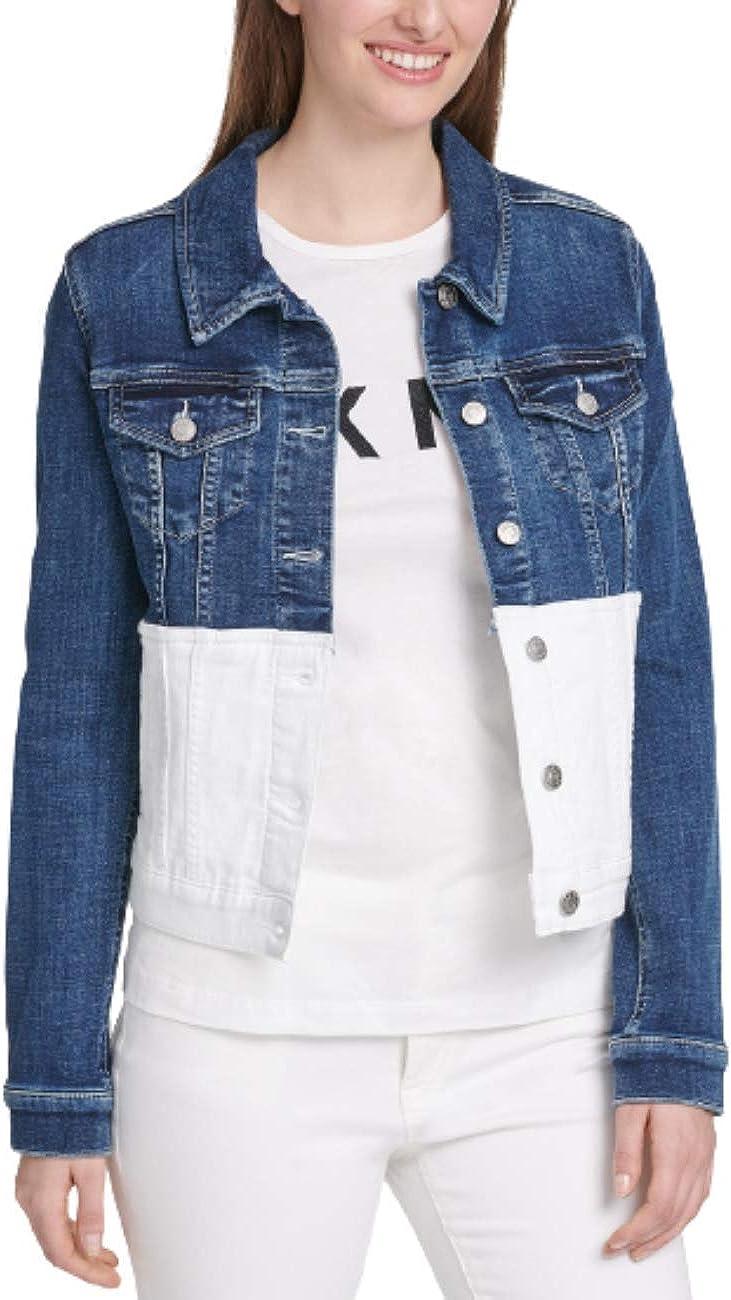 DKNY Colorblocked Denim Trucker Jacket, Dark Wash/White Rinse L
