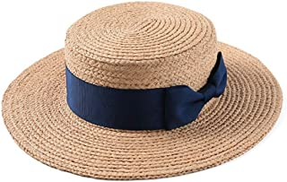 Straw hat Female Bow Flat top Wide hat Beachside Holiday Beach hat Sun hat` TuanTuan (Color : Blue)