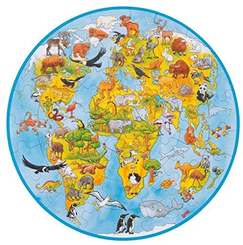 XXL Puzzle Welt, 49 Teile: Ø 45 cm, Pappe, 49 Teile per Stück