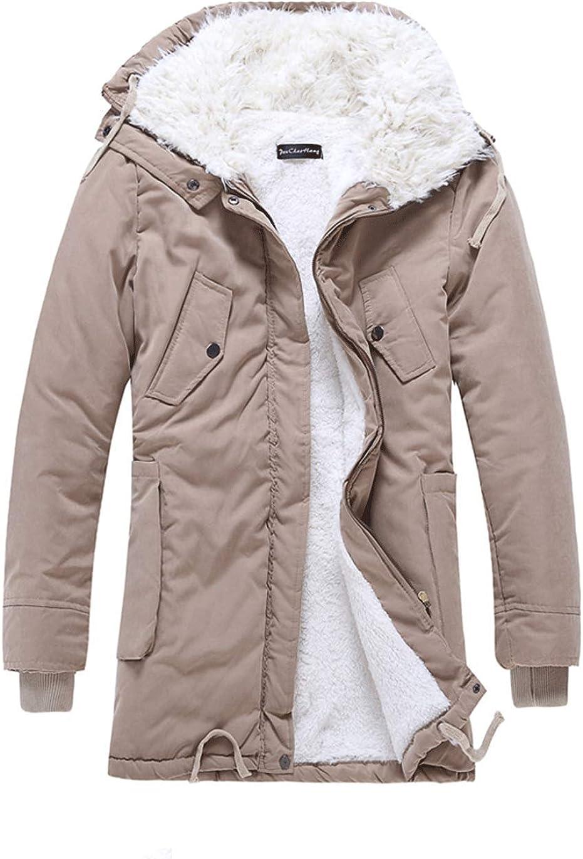 Haellun Men's Casual Sherpa Fleece Lined Jacket Winter Warm Coat with Fur Collar