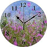 Campo de Flores púrpuras Silencioso Sin tictac Redondo Acrílico Reloj de Pared Reloj Decorativo Arte