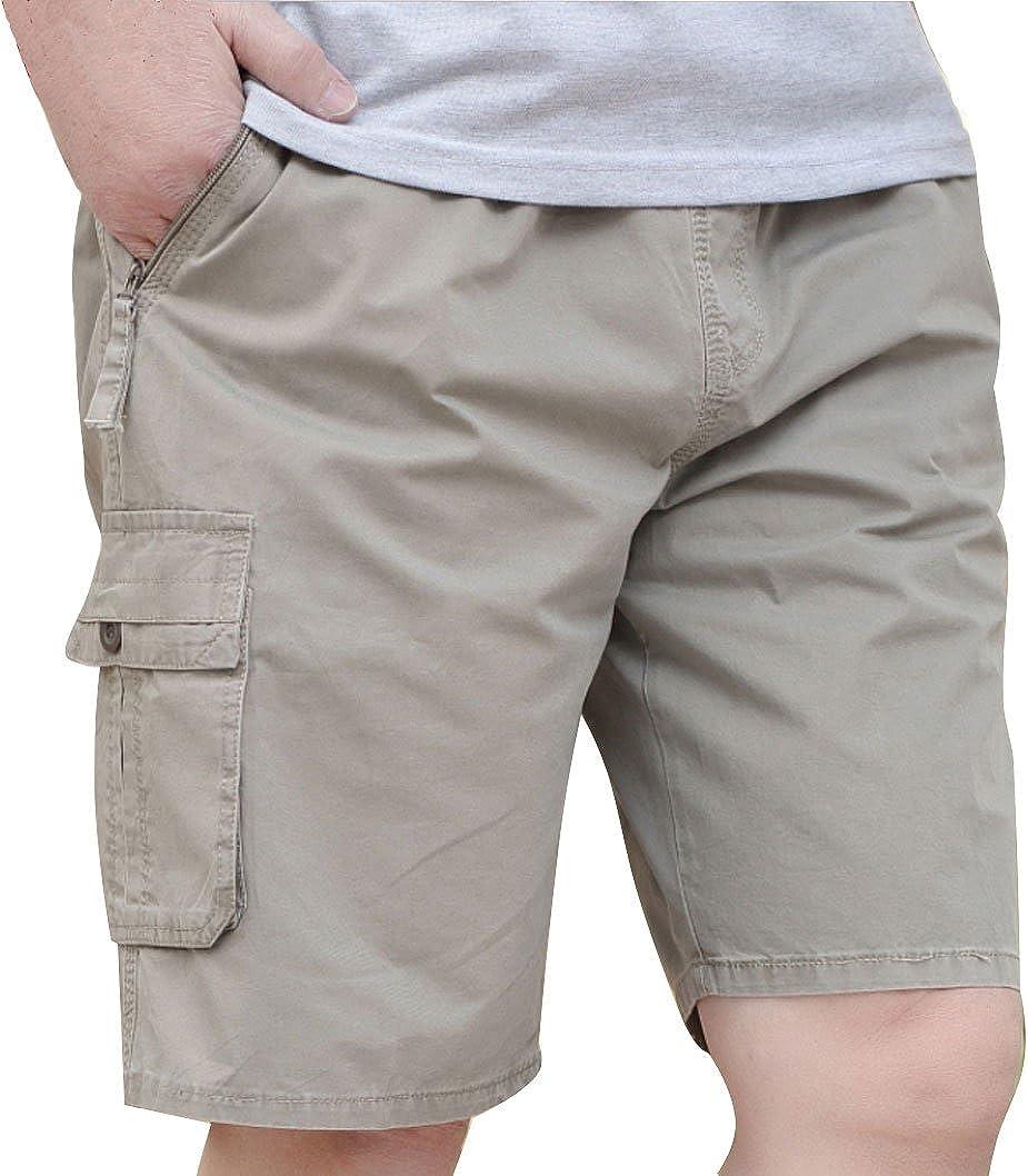 YGT Mens Loose Casual Cotton Full Elastic Waist Baseline Cargo Shorts