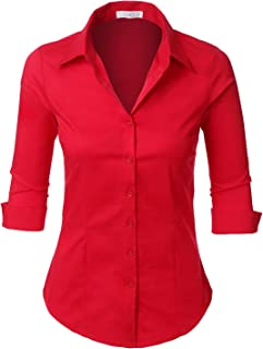 LE3NO Womens Roll Up 3/4 Sleeve Button Down Shirt with...
