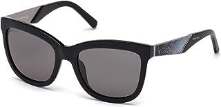 Swarovski Women's Sk0125 SK0125 Wayfarer Sunglasses, Black, 54 mm