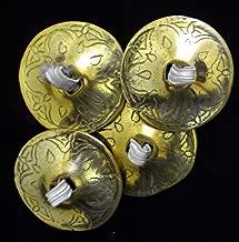 Brass Belly Dance Dancing Finger Zills Cymbals Sagats Professional Dancer Costume Elastic Finger Loops Arabesque Egyptian Egypt Oriental Dancing Musical Instrument Accessories 2 Pairs / 4 Pcs Golden
