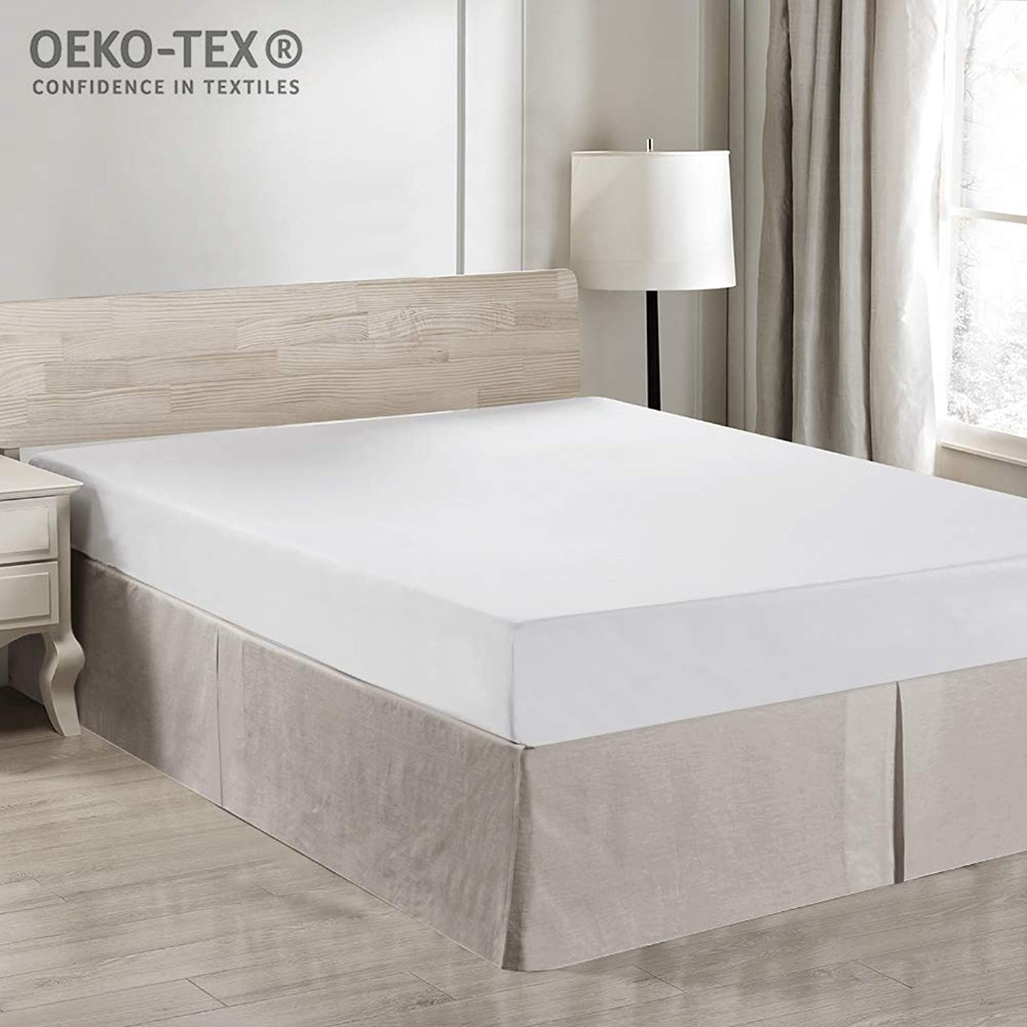 Simple&Opulence Easy Fit Breathable Premium Dust Ruffle with Classic 14 inch Drop Bed Skirt (Basic-Linen, King)