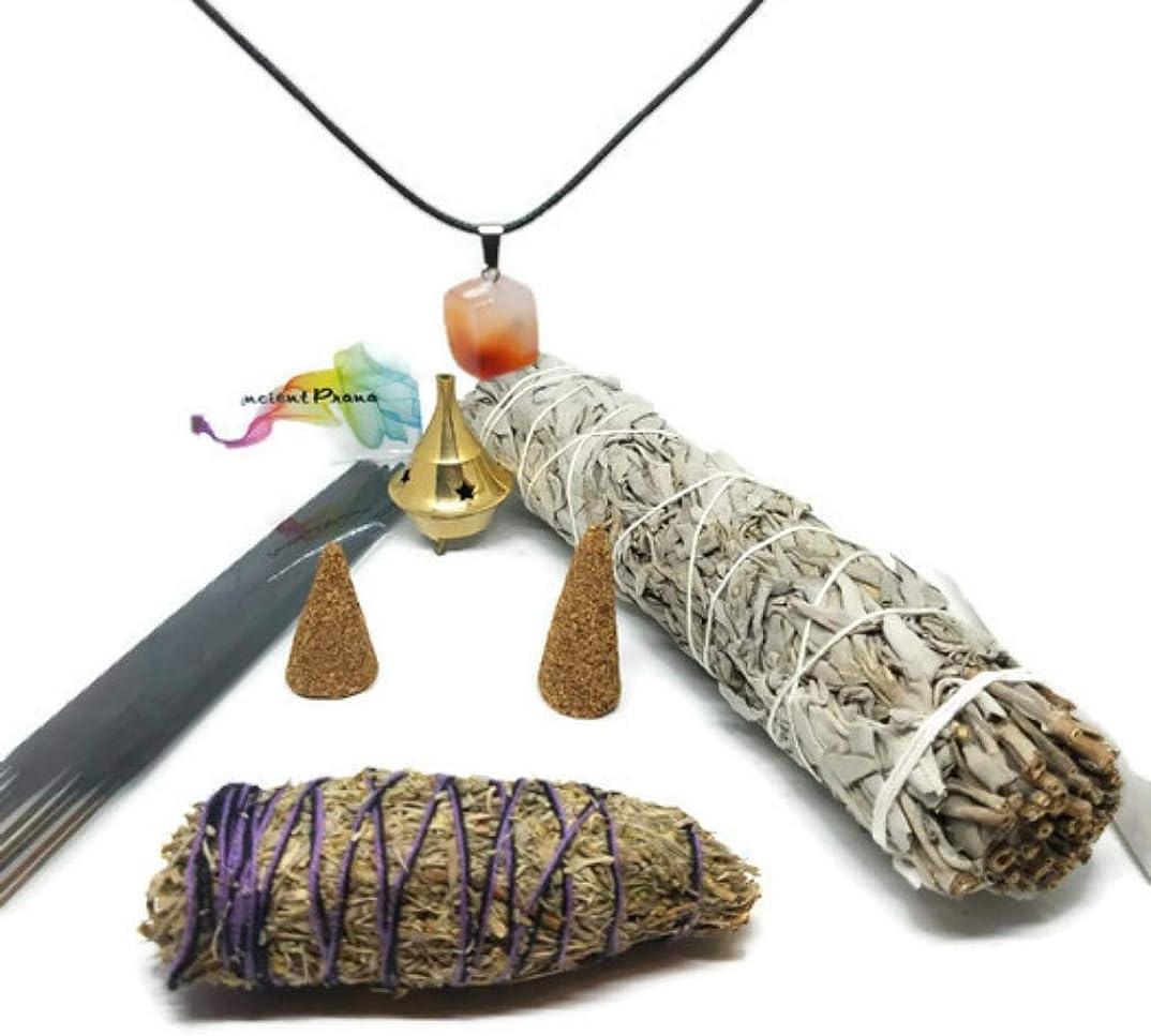 古代プラナホワイトセージ、デザートセージ、ラベンダー、コパルとパロサントのお香とコーンのスマッジスティックキット お香立てと広く選ばれたチャクラストーンが含まれています。