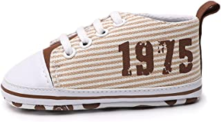 Docooler Infant Toddler Baby Casual Shoes Cotton Stripe Soft Sole Non-Slip Sneaker Prewalker Beige 6M