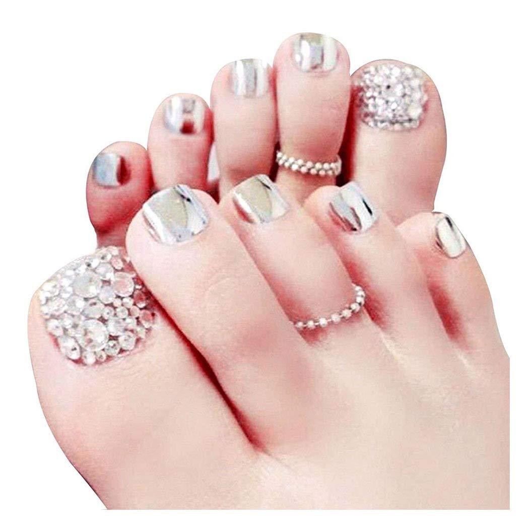 Yoakwe New arrival Directly managed store 24 Pcs Glitter False Nail Fake for Toe Rhinestone Silver